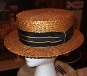 Antique VTG Adam Regent  Boater Straw Hat W/ Blue Black Grosgrain Ribbon Unisex