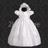 Baby Girl Formal Christening Baptism Dress Gown & Bonnet size 0m-12m FG027