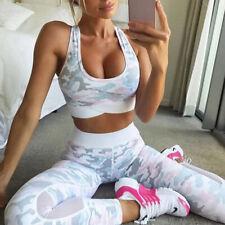 2 Piece Women's Sport Gym Yoga Vest Bra Sports Jog Legging Pants Outfit Wear  MW