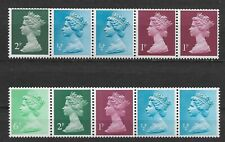 GB MACHIN Decimal Currency Issues 2 lots of 5 coil stamps/strip, MNH, OG,*VF-XF