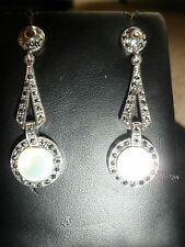 DROP DANGLE stud earrings silver marcasite & white mother of pearl. STUNNING