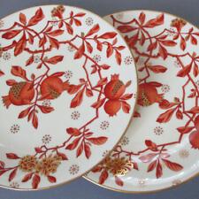 2 Antique Aesthetic MINTONS Porcelain Dinner Plates POMEGRANATES Gilt Accents