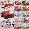 3D Effect Duvet Cover Set Bedding Set Pillow Cases Floral Flower Red Half Set