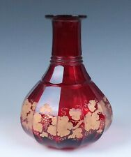 Antique Red Stain Etched Glass Decanter Carafe Gold Enamel Moser Boston Sandwich