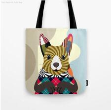 Tote Bag Squirrel Print Farm Animal Lover Fabric Design Shoulder Handbag Gift