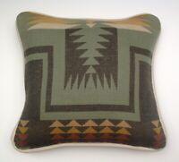 "14""x15"" Wool & Cream Leather Harding Pattern Pillow made w/Pendleton® Fabric"