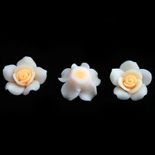 24pcs Yellow&White Rose Flower FIMO Polymer Clay Spacer Beads Findings 25mm D
