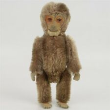 """Antique Schuco Jointed Mohair Monkey Doll Hidden Perfume Bottle 5"""" Tall Unusual"""