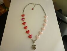 "Silver Tone ""LOVE"" Charm with Acrylic Red & Pink Hearts Necklace"
