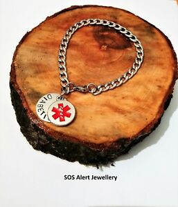 """Medical Alert Warning ID SOS 9"""" Bracelet Strong Stainless Steel Curb Chain"""