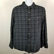 Carbon2Cobalt Mens Cotton Dark Blue Check L/S Casual Button Shirt Sz Large L