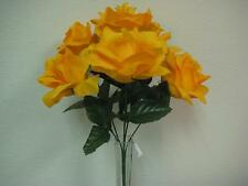 """3 Bushes GOLD YELLOW Open Roses Artificial Silk Flowers 13"""" Bouquet 6-590GDYL"""