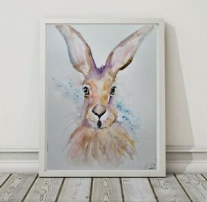 Large new and original signed watercolour art painting of a pair a little Hare