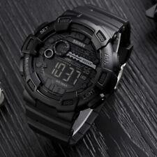 Men's Waterproof Military Sports Digital LED Watch Soft Rubber Shockproof Black