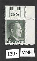 #1397  MNH  1940s Adolph Hitler postage stamp / 1RM / Third Reich / WWII Germany