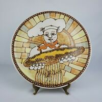 Vtg '78 Janet Rothwoman Chef Plate Baker Pottery Charger Signed Neutral Color