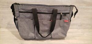 SKIP HOP Duo Double Signature Diaper Travel Bag Tote Heather Grey