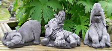 Small Elephant set 3 pc Hand Cast REAL Stone Garden Ornament NOT PLASTIC/RESIN