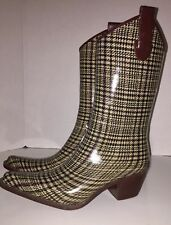 Corkys Womens Size 9 Plaid Pull On Cowboy Western Rodeo Rubber Rain Snow Boots