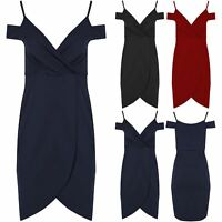 Womens Ladies Front Wrap Over V Neck Asymmetric Cold Cut Shoulder Bodycon Dress