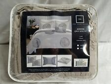 4 Pc Jupiter Quilted and Rouched Applique Abstract Quilt Queen, Taupe