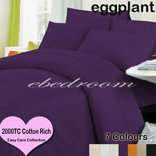 New Double 2000TC Cotton CVC Easy Care Quilt Cover&Pillowcases Purple-RRP$427