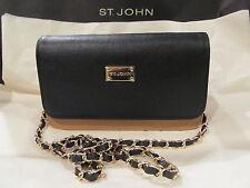 New St John Knit Tan Biscuit Black Logo Chain Shoulder Bag Leather Purse