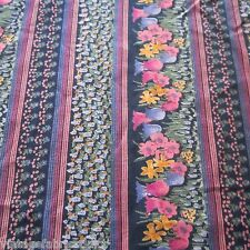 89CM X 92CM VINTAGE Rayon Fabric 1960S Purple Black Border Tulips Skirt Sewing