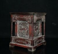 Noble square Shape rosewood wood Carved kylin qilin statue Brush Pot Pencil Vase