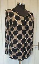 Hobbs beige black circle pattern cardigan size 14 silk cashmere blend scoop neck