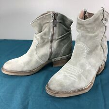 Used Sundance Gray Suede Leather Western Womens Cowgirl Ankle Boots sz 38 Euro