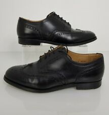 Men's CROCKETT & JONES Black Leather Brogue Detail Shoes - Size 7.5 F Salisbury