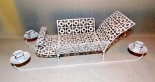 Mid Century Vintage 1950's White Punched Metal Christmas Sleigh 4 Taper Candles