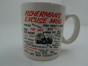FISHERMAN'S EXCUSE MUG  Coffee Cup 10 oz Fishing Sport Gift Flaming gorge Funny