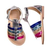 NWT Gymboree Spring Vacation Girls Rainbow Metallic Sandals Shoes 5 6 7