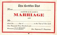 Vintage Postcard 1910's Certificates That Would Like to be United in Marriage