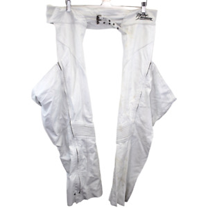 O246 Vintage Harley Davidson Motorcycles Chaps White Genuine Leather Men's