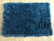 "3x5 Rug Shaggy Fluffy Flokati  SHAG Solid Dark Blue  3 inch Thick New 3'3""x4'10"""