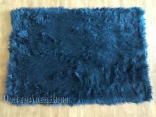 """3x5 Rug Shaggy Fluffy Flokati  SHAG Solid Dark Blue  3 inch Thick New 3'3""""x4'10"""""""