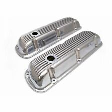 62-85 SBF Ford 302 Retro Finned Polished Aluminum Short Valve Covers 289 351W
