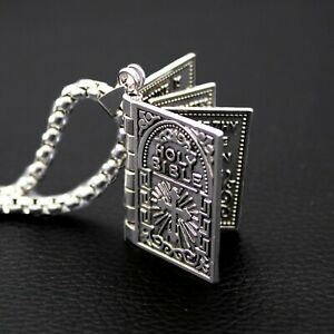 Bible Pendant Necklace Openable Lord's Prayer Silver Stainless Steel Box Chain