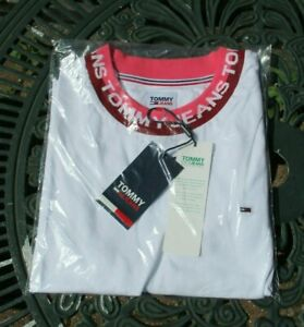 """Ladies Girls Tommy Jeans Shortsleeve Stretch T-shirt Crop Top Ex Lge 38""""/40"""" New"""