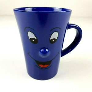 Vintage Funny Face Coffee Mug Ceramic Tea Cup Blue 3D