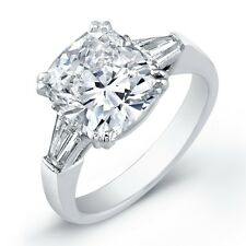 2.50CT CUSHION CUT TRILOGY ENGAGEMENT RING 925 STERLING SILVER ANNIVERSARY RING