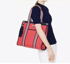 Pre-owned Tory Burch Emroidered T-Tote Canvas Bag red $250 Msrp