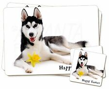 'Happy Easter' Black Husky Twin 2x Placemats+2x Coasters Set in Gif, AD-H55DA1PC