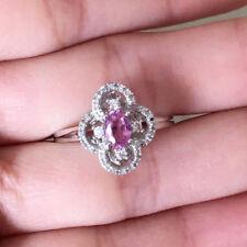 10k White Gold Natural Pink Sapphire Diamond Wedding Engagement Ring