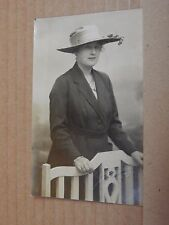 Postcard Real photo lady In Coat And Hat Studio Shot Bow London unposted