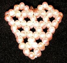 PENDANT/NECKLACE 2 Layer Hand Sewn Genuine PEARL HEART
