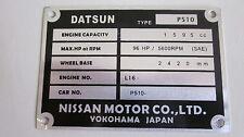 Datsun 1600 P510 L16 SR20 CA18 L18 L20B FJ20 L16SSS chassis plate ID tag blank